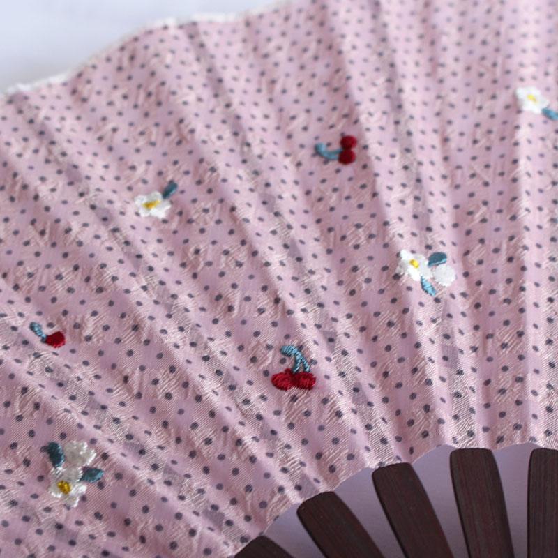 扇子 / とび刺繍ドットシェル扇子 / サクランボピンク