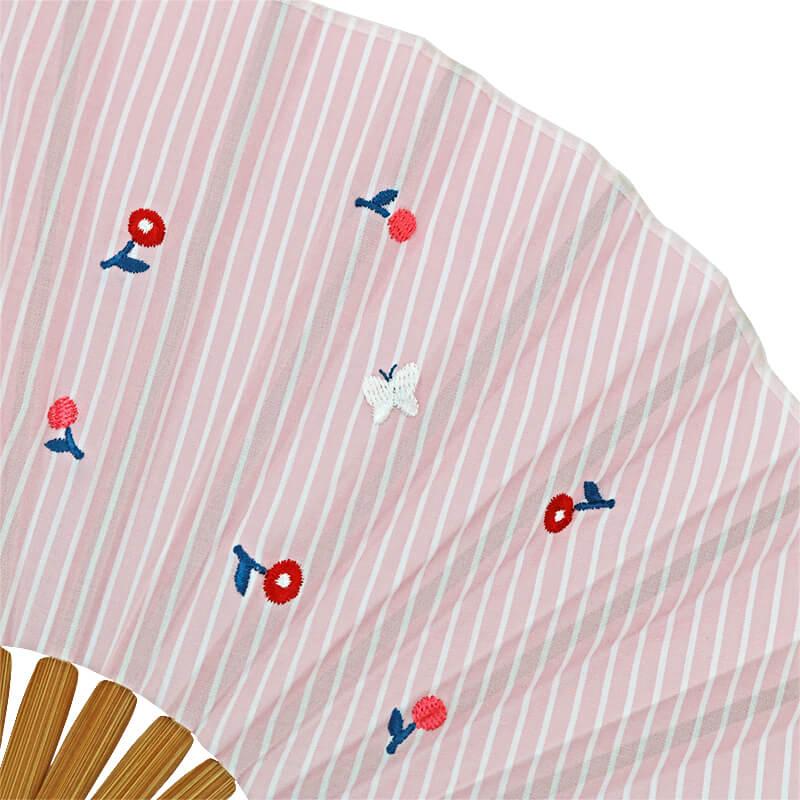 扇子 /ストライプとび刺繍シェル扇子セット / フラワーピンク
