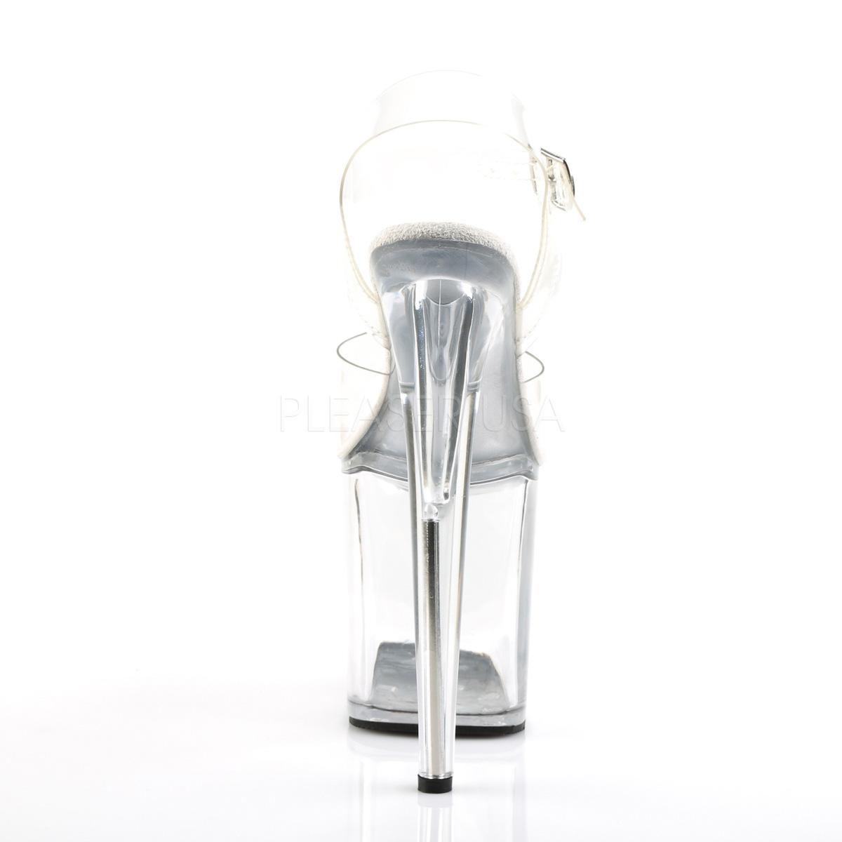 Pleaser(プリーザー) FLAMINGO-808 厚底サンダル アンクルストラップ クリアアッパー クリアヒール ピンヒール ハイヒール レディース コスプレ 衣装 ポールダンス 靴 大きいサイズ キャバ パーティ