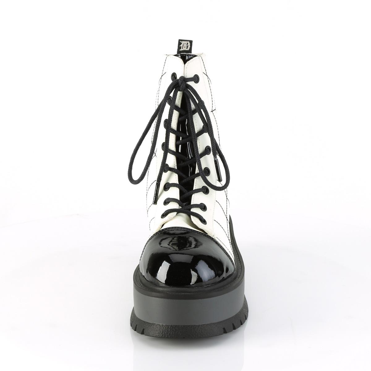 Demonia(デモニア) SLACKER-88 蜘蛛の巣模様 スパイダーウェブ ショートブーツ ホワイトグロウ/エナメル黒◆取り寄せ