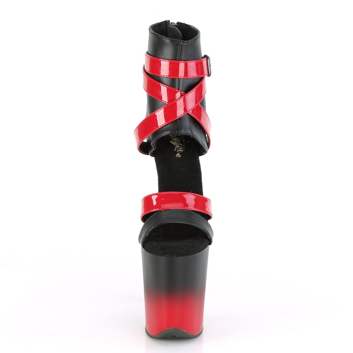 Pleaser(プリーザー) FLAMINGO-800-15 フラミンゴ 2トーンカラーブーティサンダル バックZIP ブラック/レッド◆取り寄せ