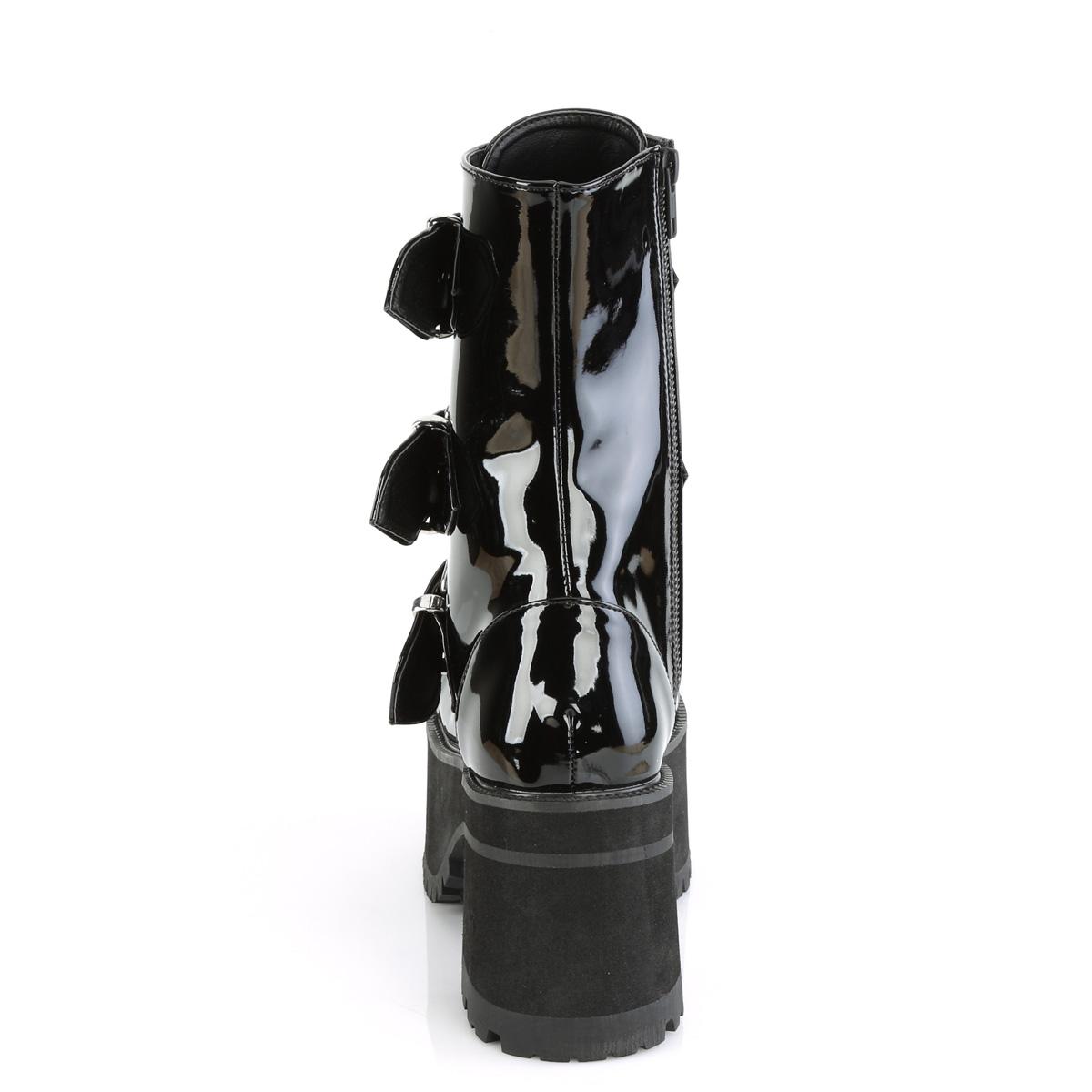 Demonia(デモニア) RANGER-308 トリプルバックルストラップ 厚底ショートブーツ サイドジップ エナメル黒◆取り寄せ