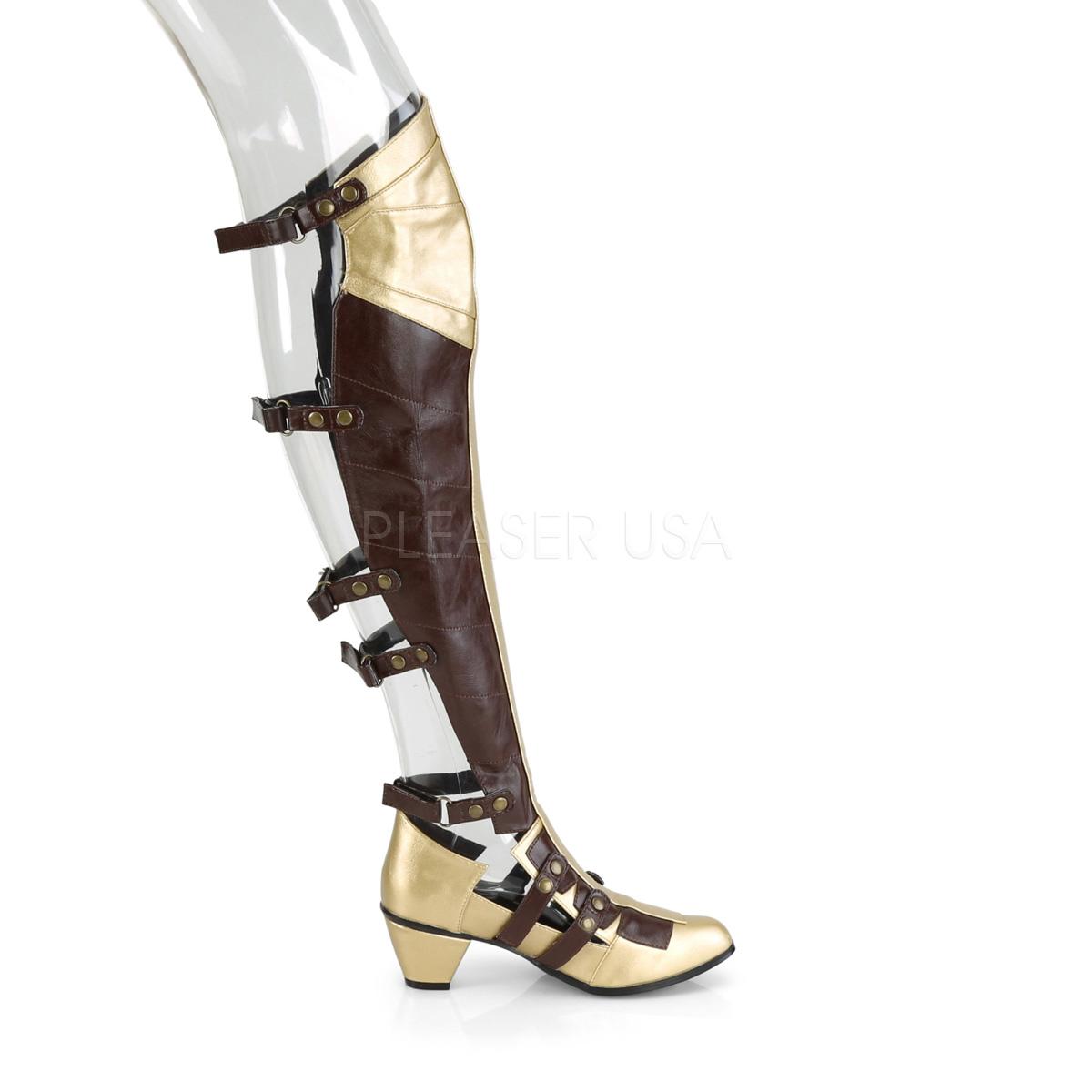 Funtasma(ファンタズマ) MAIDEN-8830 オープンバックオーバーニーブーツ ブロックヒール ブラウン/ゴールド ハロウィン コスプレ 衣装◆取り寄せ