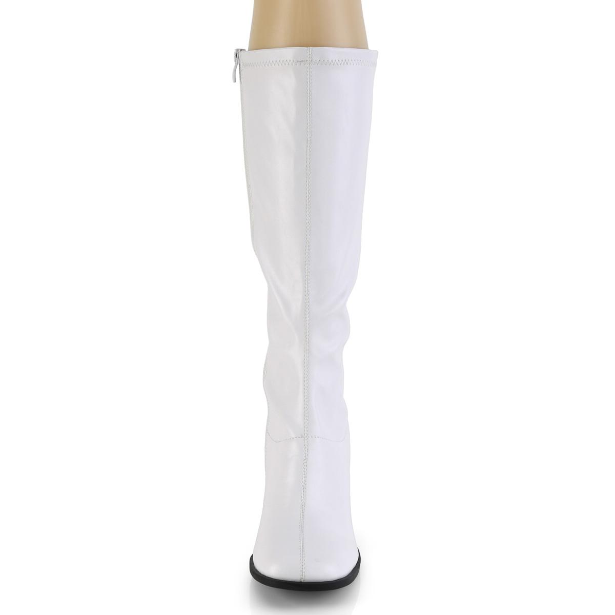 Funtasma GOGO-300-2 ニーハイブーツ ブロックヒール サイドZIP つや消し白 ホワイト◆取り寄せ