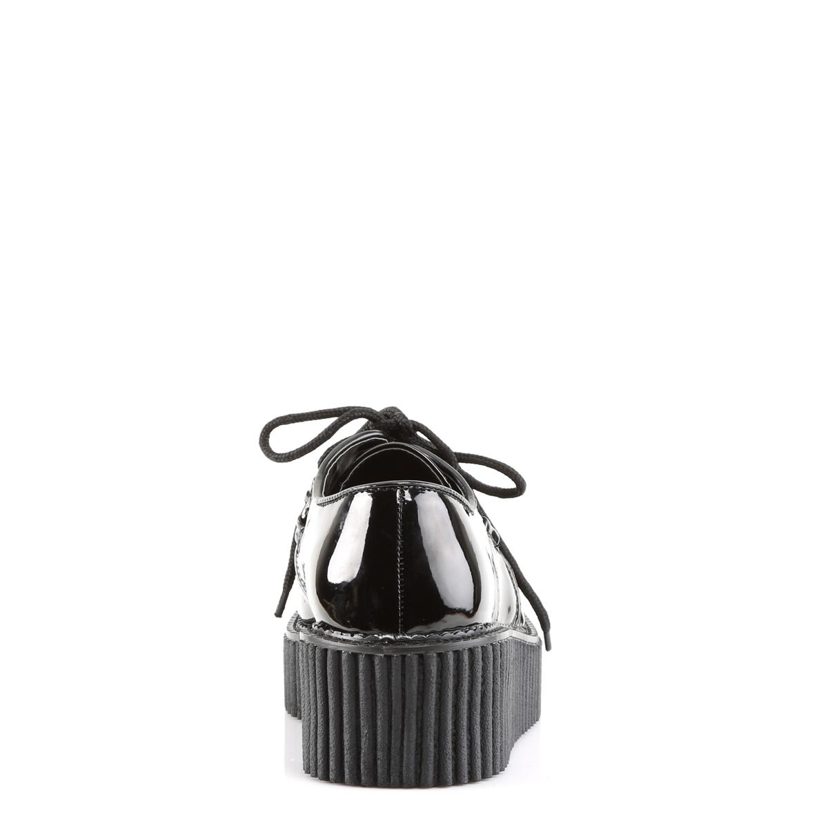 DEMONIA CREEPER-108 レディースシューズ/クリーパー スタッズ&ハート型カットアウト エナメル黒 デモニア◆取り寄せ