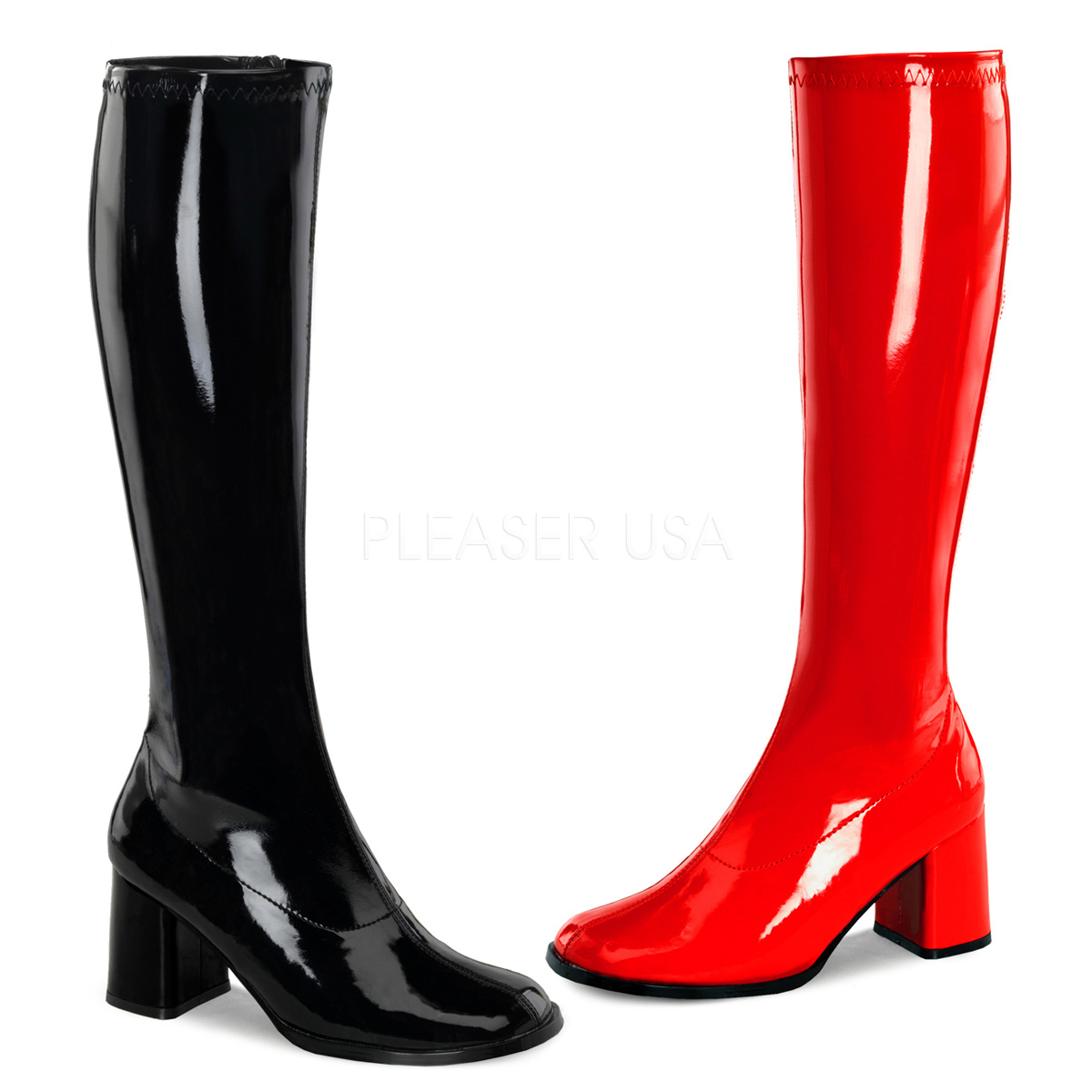 FUNTASMA(Pleaser) GOGO-300HQ ハーフカラーニーハイブーツ 黒赤片足ずつ アシンメトリー コスプレ 衣装 ◆取り寄せ