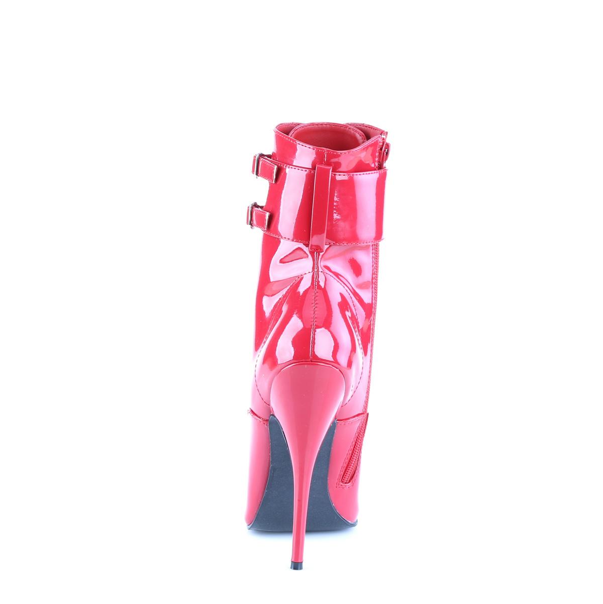 DEVIOUS(Pleaser) DOMINA-1023 ショートブーツ 交換可能な3種類のアンクルカフ付き プリーザー エナメル赤 レッド 約15cmハイヒール◆取り寄せ