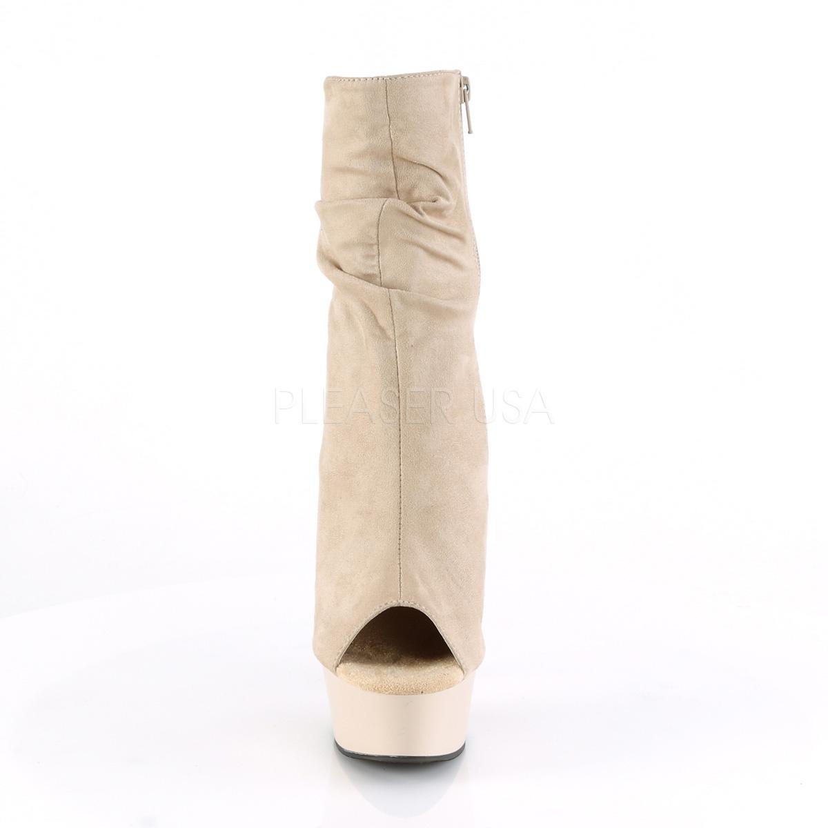 Pleaser(プリーザー) DELIGHT-1031 オープントゥ フェイクスウェード シワ加工アンクルブーツ ショートブーツ サイドジップ ベージュ◆取り寄せ