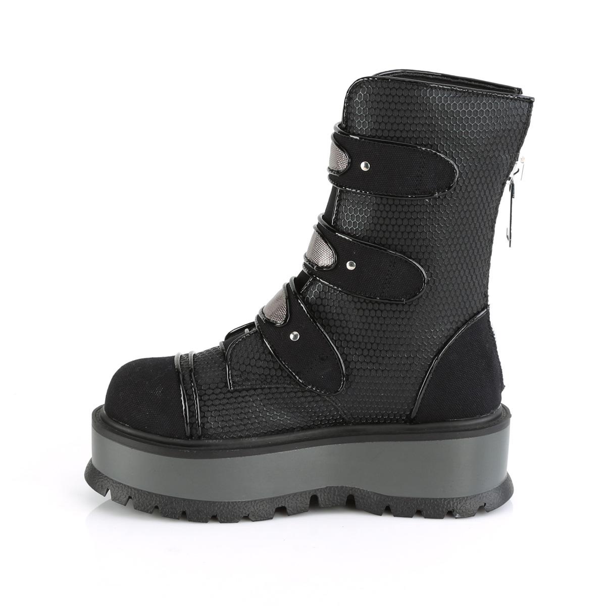 Demonia(デモニア) SLACKER-101 ミッドカーフブーツ バックジップ 合皮/キャンバス つや消し黒 ブラック◆取り寄せ