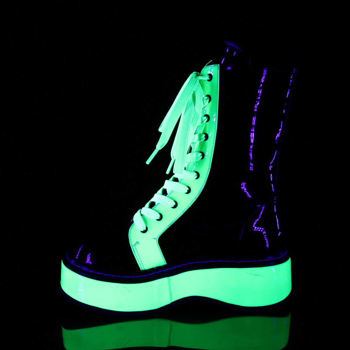 Demonia(デモニア) EMILY-350 UV蛍光 ミッドカーフブーツ エナメル黒/UVネオングリーン サイバーパンク◆取り寄せ