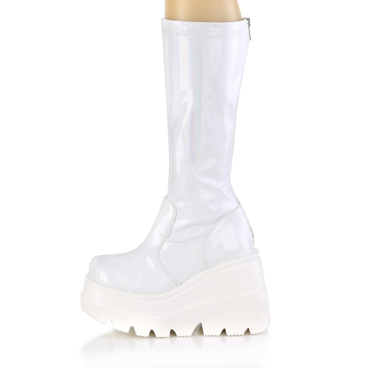 Demonia(デモニア) SHAKER-65 ウェッジソールニーハイブーツ 厚底ブーツ バックジップ 白 ホワイトホログラム◆取り寄せ