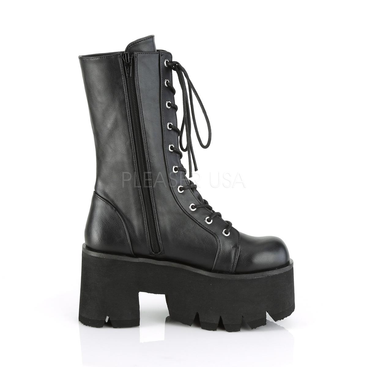 Demonia(デモニア) ASHES-105 厚底レースアップブーツ ミッドカーフブーツ サイドジップ有り つや消し黒 3 1/2inch Chunky Heel, 2 1/4inch PF◆取り寄せ
