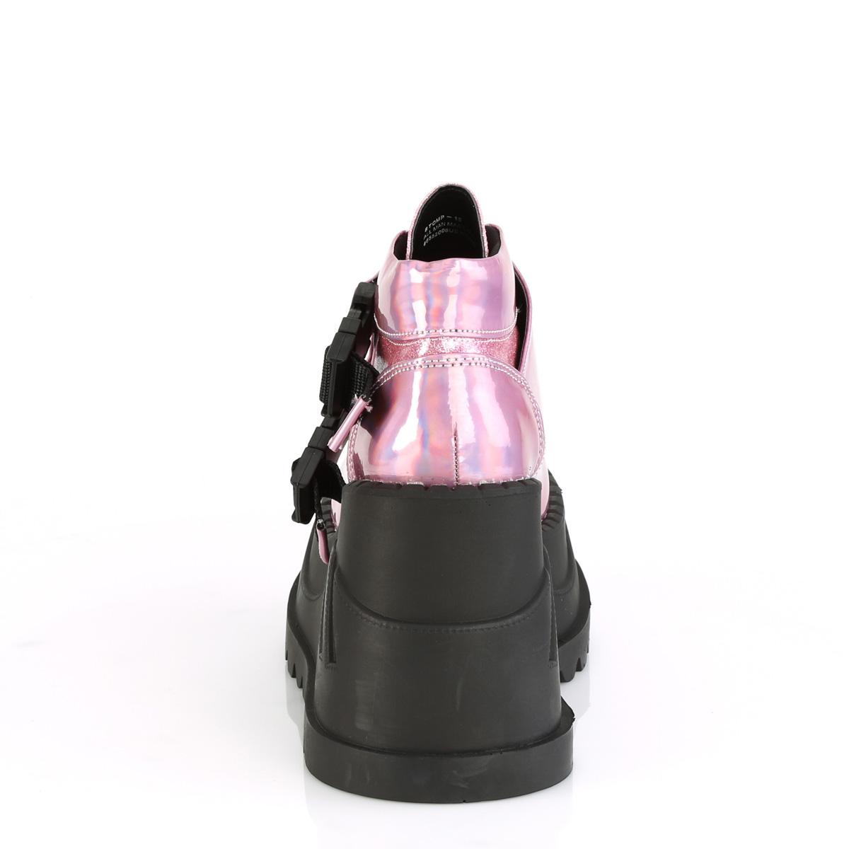 Demonia(デモニア) STOMP-15 厚底スニーカー スナップバックル ピンクホログラムグリッター 4 3/4inch Wedge PF◆取り寄せ