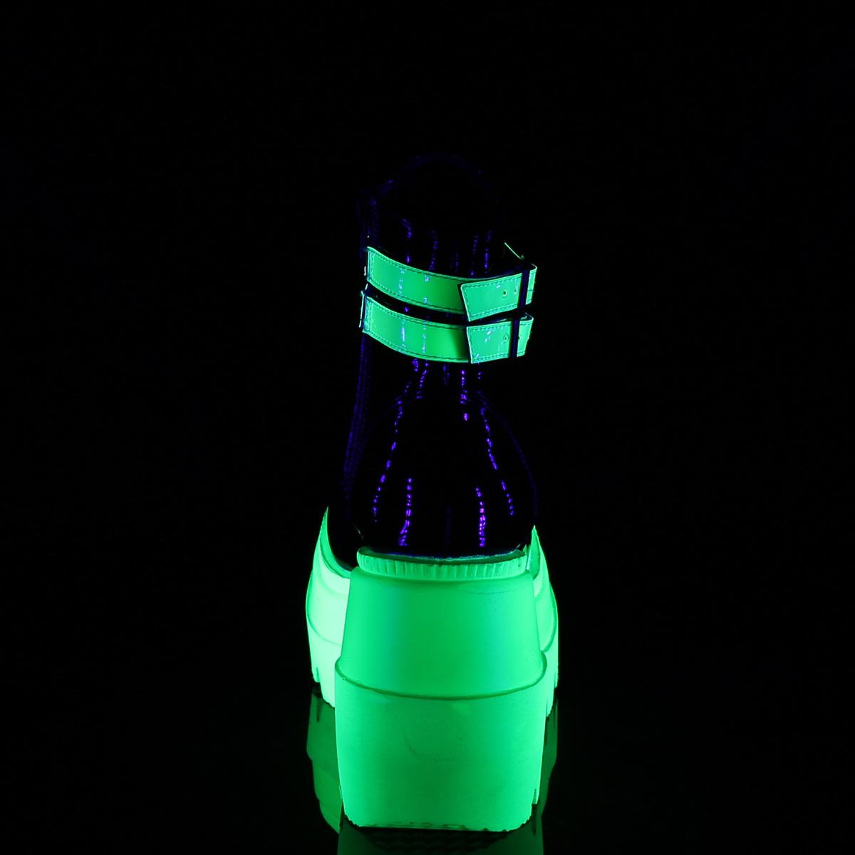 Demonia(デモニア) SHAKER-52 UV蛍光 ウェッジソール厚底ブーツ ブラックライト エナメル黒/ネオングリーン◆取り寄せ