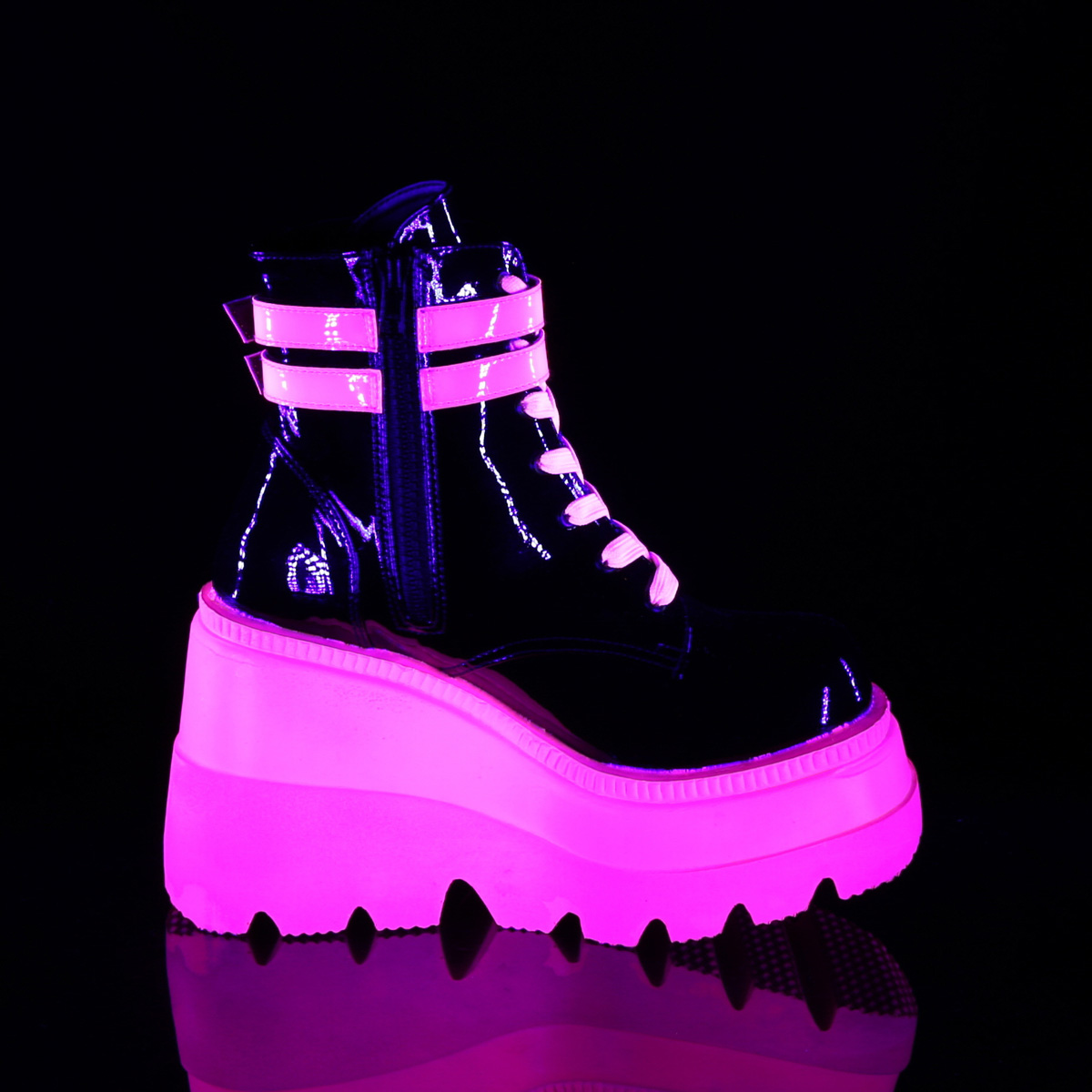 Demonia(デモニア) SHAKER-52 UV蛍光 ウェッジソール厚底ブーツ ブラックライト エナメル黒/ネオンピンク◆取り寄せ