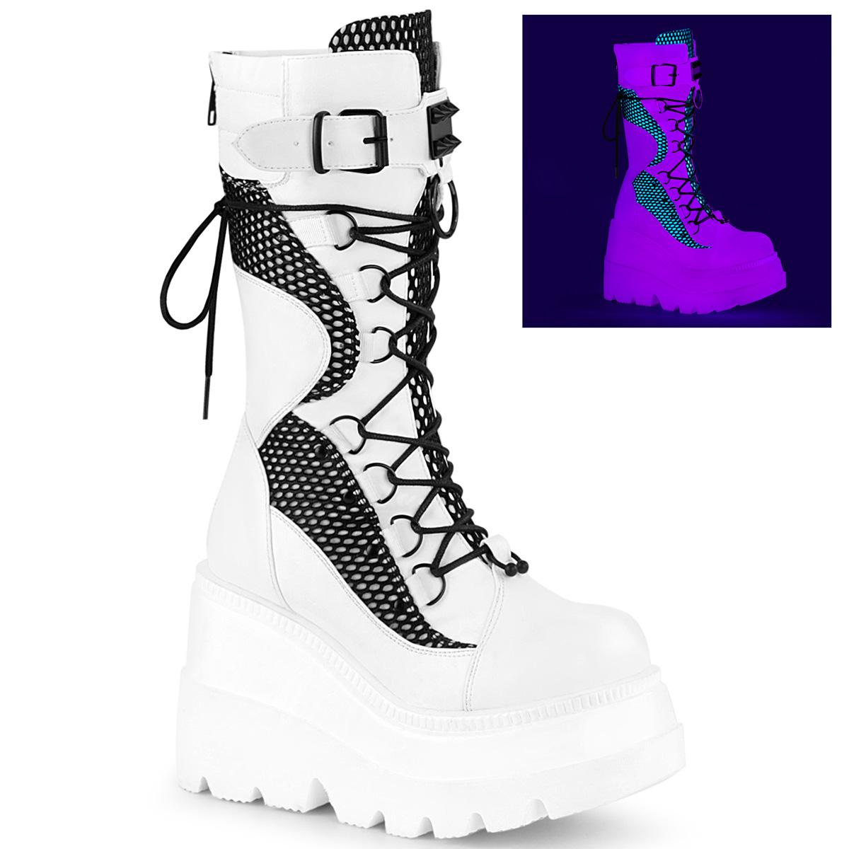 Demonia(デモニア) SHAKER-70 ウェッジソール厚底ミッドカーフブーツ つや消し白/黒フィッシュネット◆取り寄せ