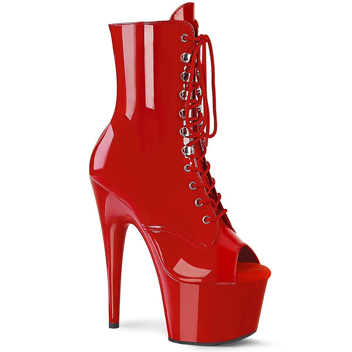 Pleaser(プリーザー) ADORE-1021 ピープトゥレースアップアンクルブーツ エナメル赤◆取り寄せ