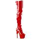 Pleaser(プリーザー) ADORE-3000 ストレッチサイハイブーツ エナメル赤 約18cmヒール/7cm厚底◆取り寄せ