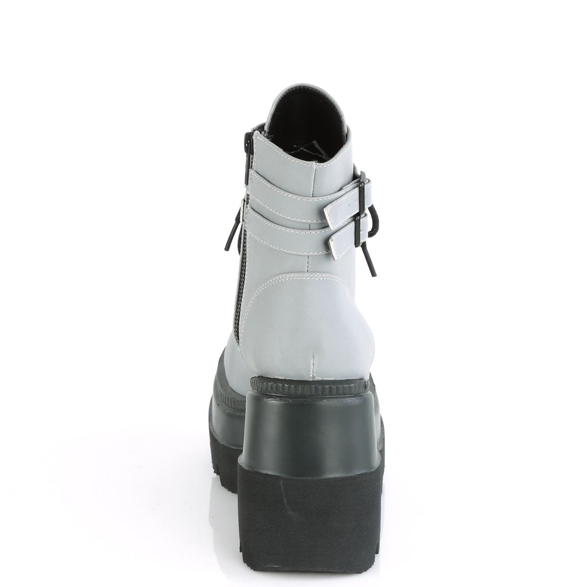 Demonia(デモニア) SHAKER-52 リフレクティブ素材 厚底ショートブーツアンクルブーツ サイドジップ グレー◆取り寄せ