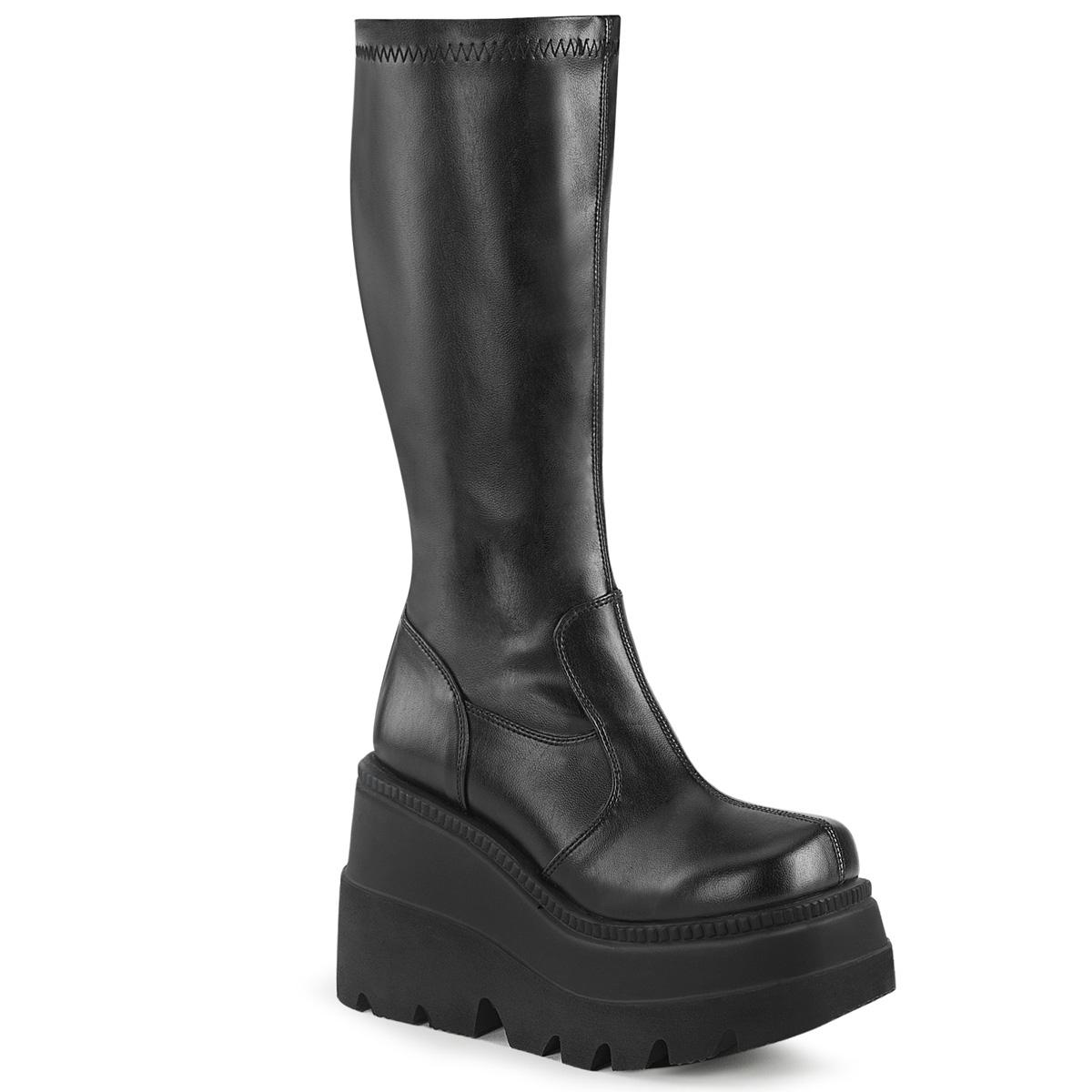 Demonia(デモニア) SHAKER-65 ウェッジソールニーハイブーツ 厚底ブーツ バックジップ つや消し黒◆取り寄せ