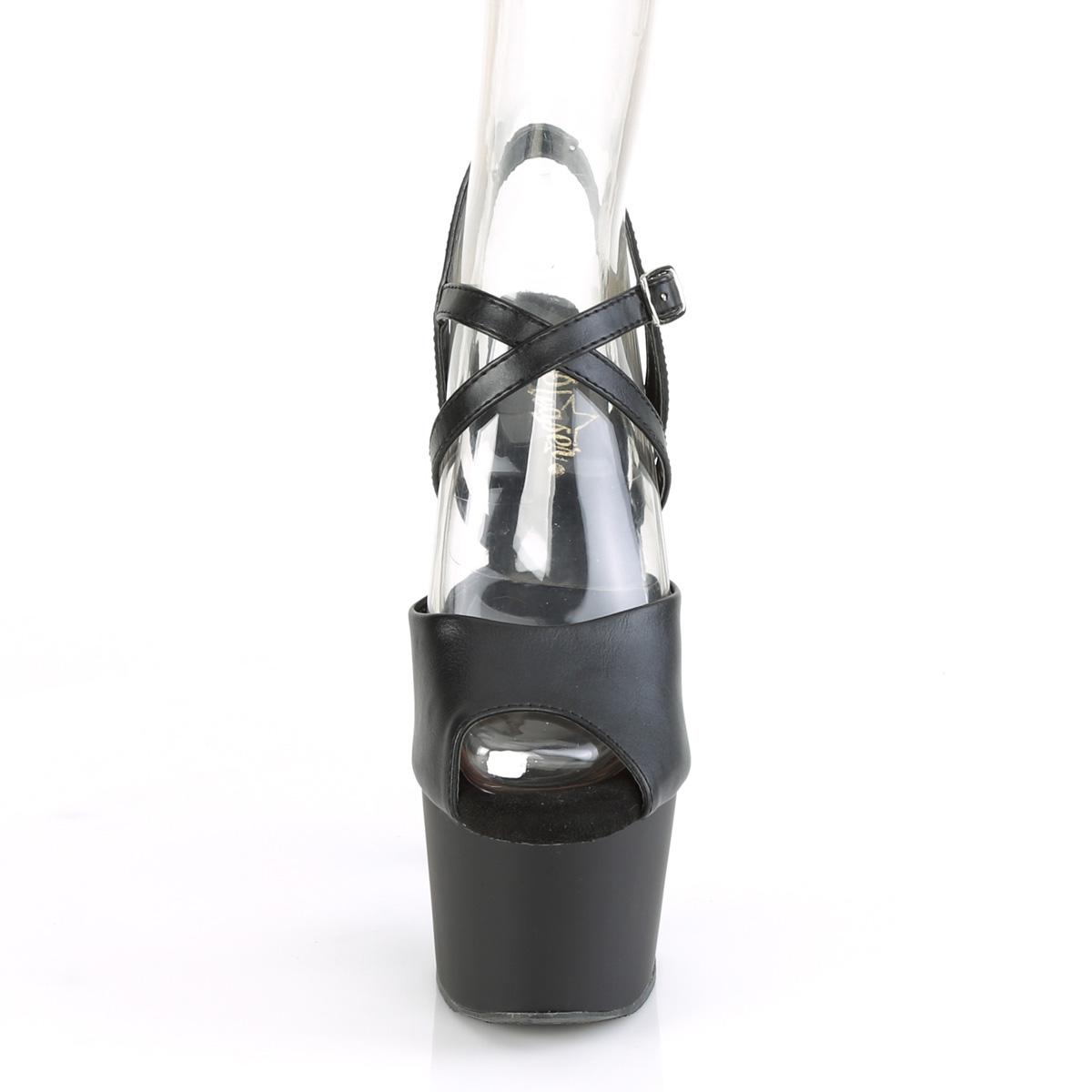 Pleaser(プリーザー) ADORE-724 クリスクロス アンクルストラップ 厚底サンダル つや消し黒◆取り寄せ