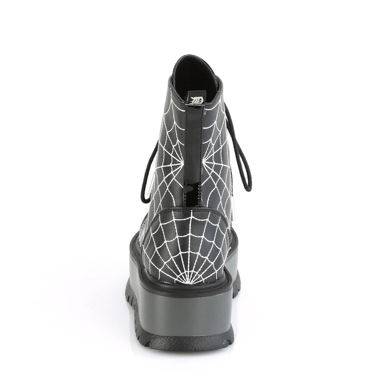 Demonia(デモニア) スパイダーネット くもの巣柄 厚底ショートブーツ サイドジップ ブラック◆取り寄せ
