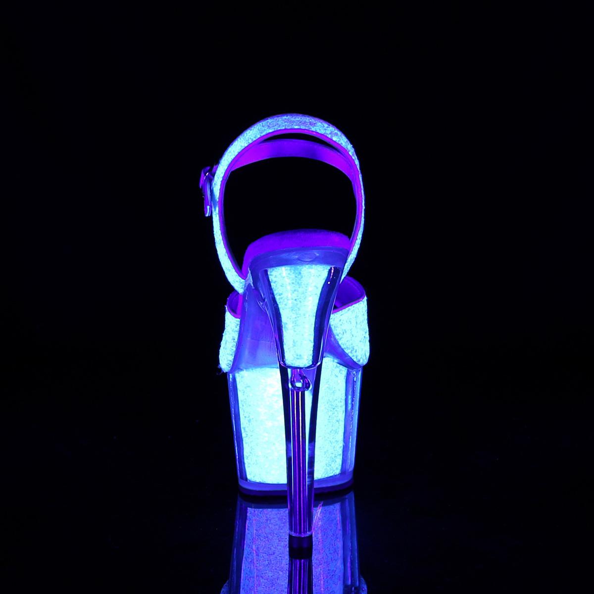 Pleaser(プリーザー) ADORE-710UVG UV蛍光 ブラックライト蛍光 厚底サンダル ネオンオパールグリッター◆取り寄せ