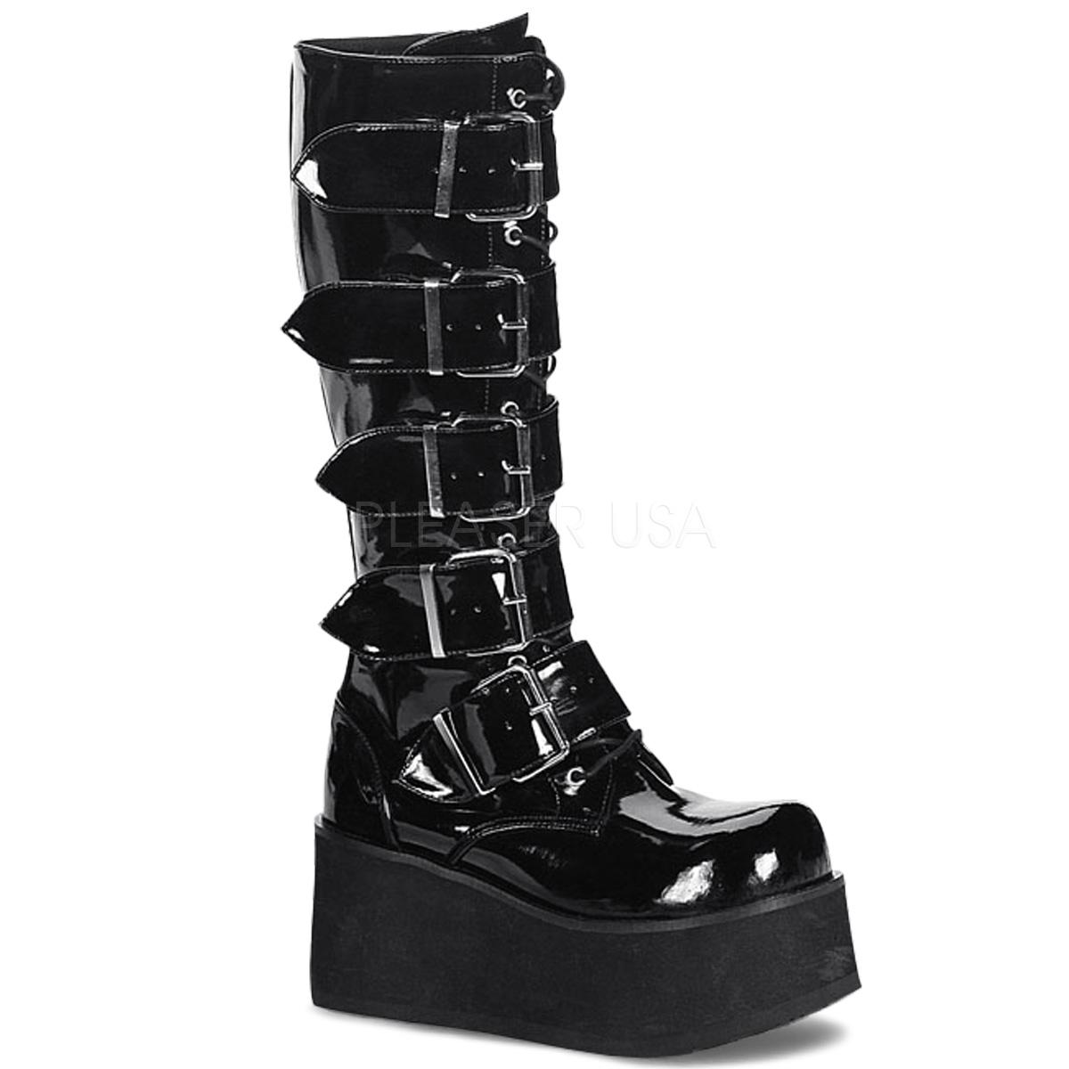 Demonia TRASHVILLE-518 3 1/4inch PF Goth Punk Pat Knee BT 5 Buckled W/ Zipper #Men's/UNISEX ◆取り寄せ