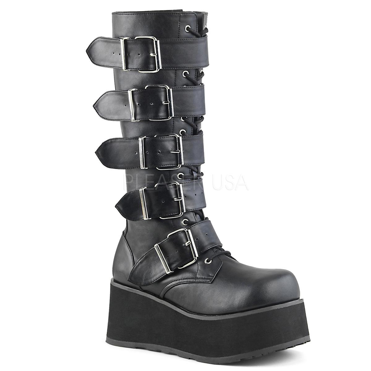 Demonia TRASHVILLE-518 3 1/4inch PF Goth Punk Knee BT 5 Buckled W/ Zipper #Men's/UNISEX ◆取り寄せ