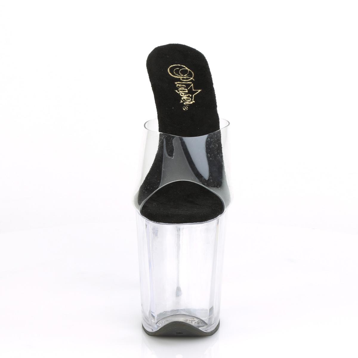 Pleaser(プリーザー) FLAMINGO-801 フラミンゴ 20cmヒール 厚底サンダル クリア-ブラック/クリア◆取り寄せ