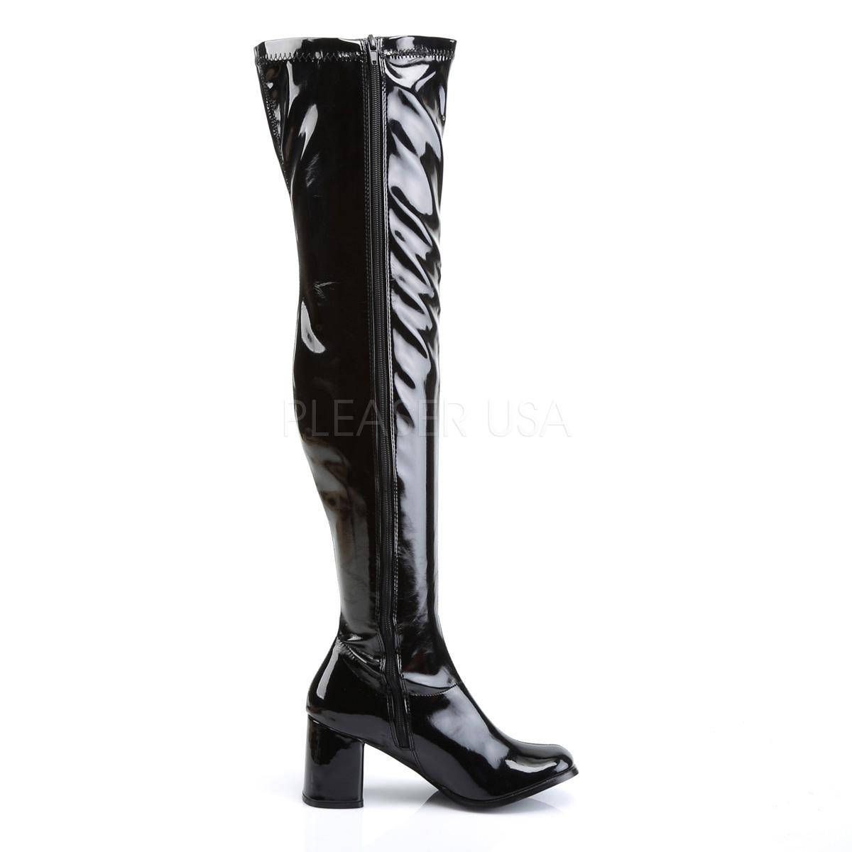 FUNTASMA(Pleaser) GOGO-3000 エナメル黒 サイハイブーツ ひざ上ロングブーツ オーバーニーブーツ ストレッチ ひざ上ニーハイブーツ コスプレ 衣装 レディース