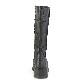Demonia(デモニア) SLACKER-230 パッチワークデザイン ニーハイブーツ サイドジップ つや消し黒◆取り寄せ