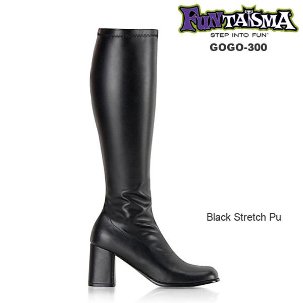 FUNTASMA(Pleaser) GOGO-300 つや消し黒 ニーハイブーツ GOGOブーツ コスプレ用ブーツ イベント 衣装 キャンギャルブーツ ロングブーツ