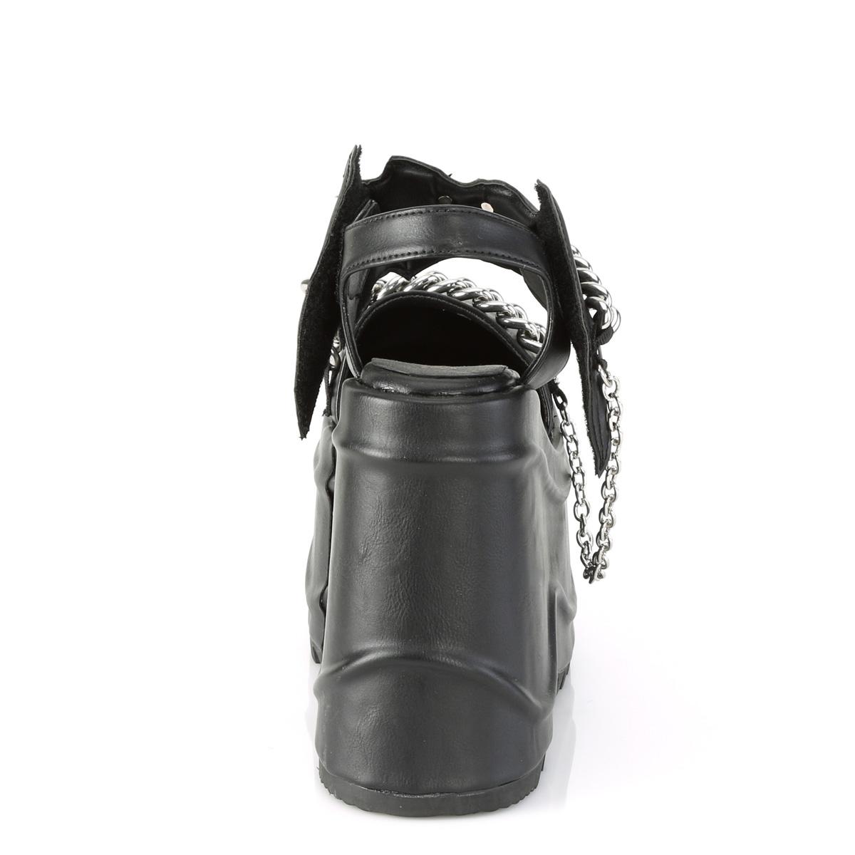 Demonia(デモニア) WAVE-20 ウェッジソール厚底サンダル コウモリ 蝙蝠 チェーン つや消し黒◆取り寄せ