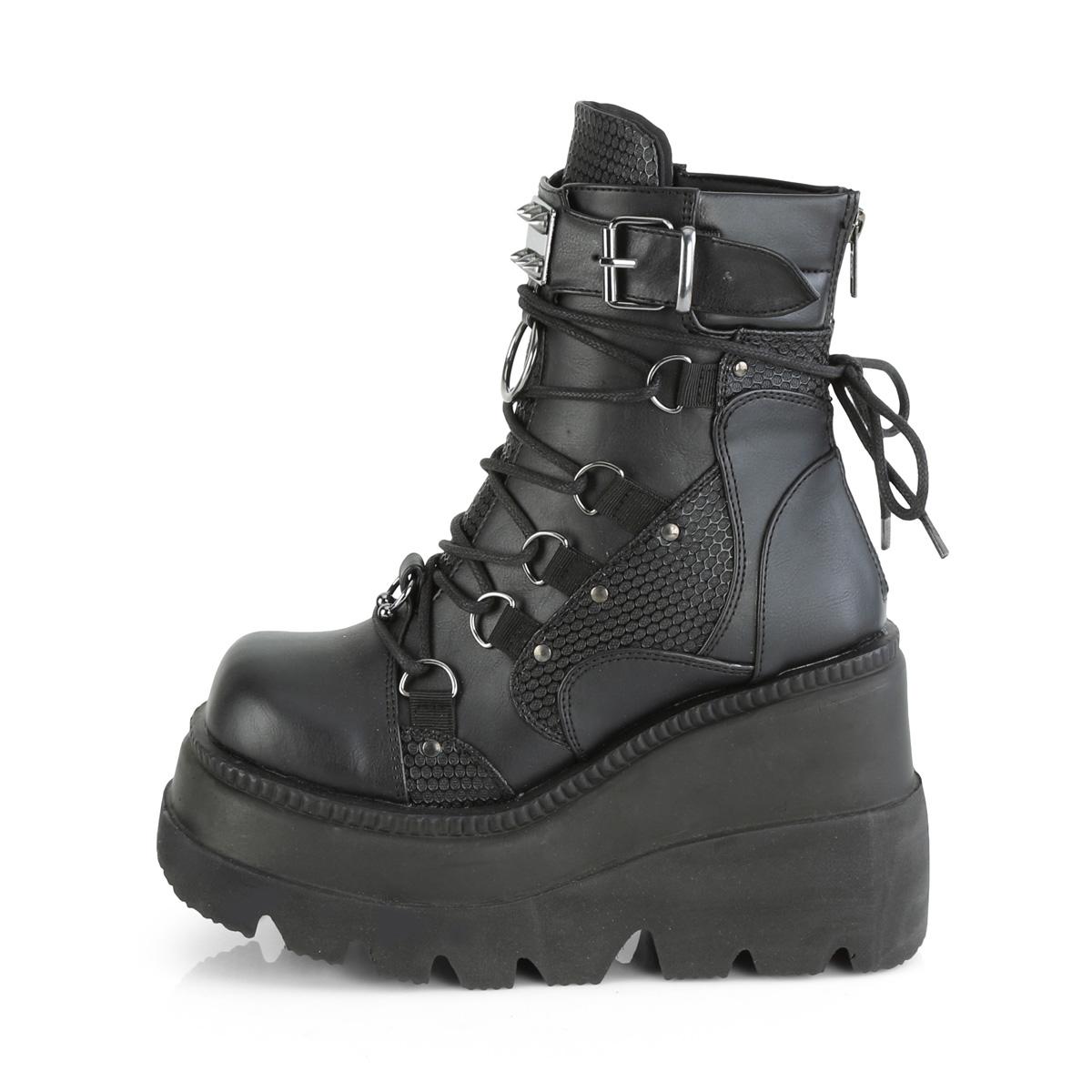 Demonia(デモニア) SHAKER-60 ウェッジソールブーツ 厚底ショートブーツ バックジップ つや消し黒◆取り寄せ