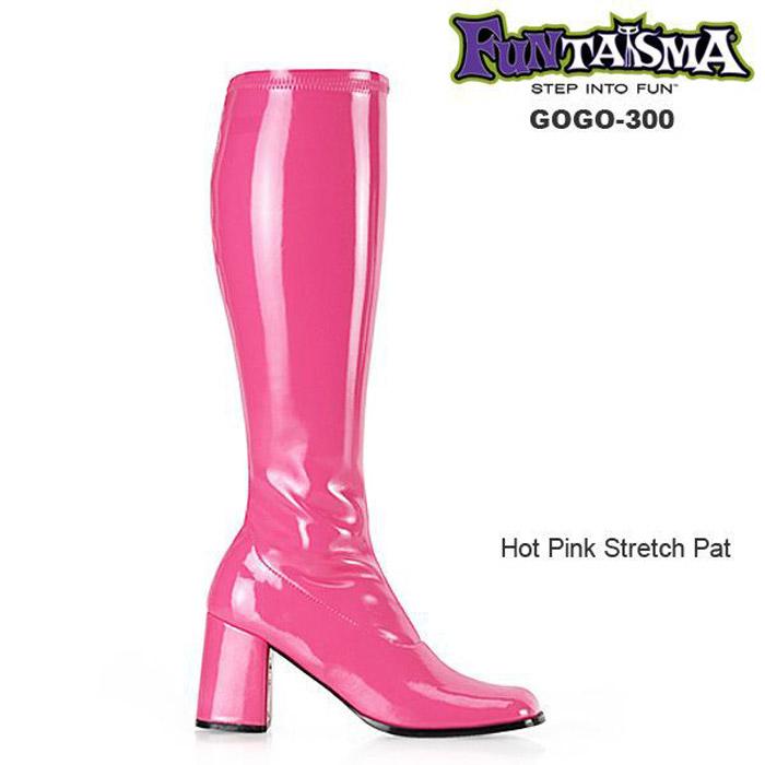 FUNTASMA(Pleaser) GOGO-300 ホットピンク ニーハイブーツ GOGOブーツ コスプレ用ブーツ イベント 衣装 キャンギャルブーツ ロングブーツ