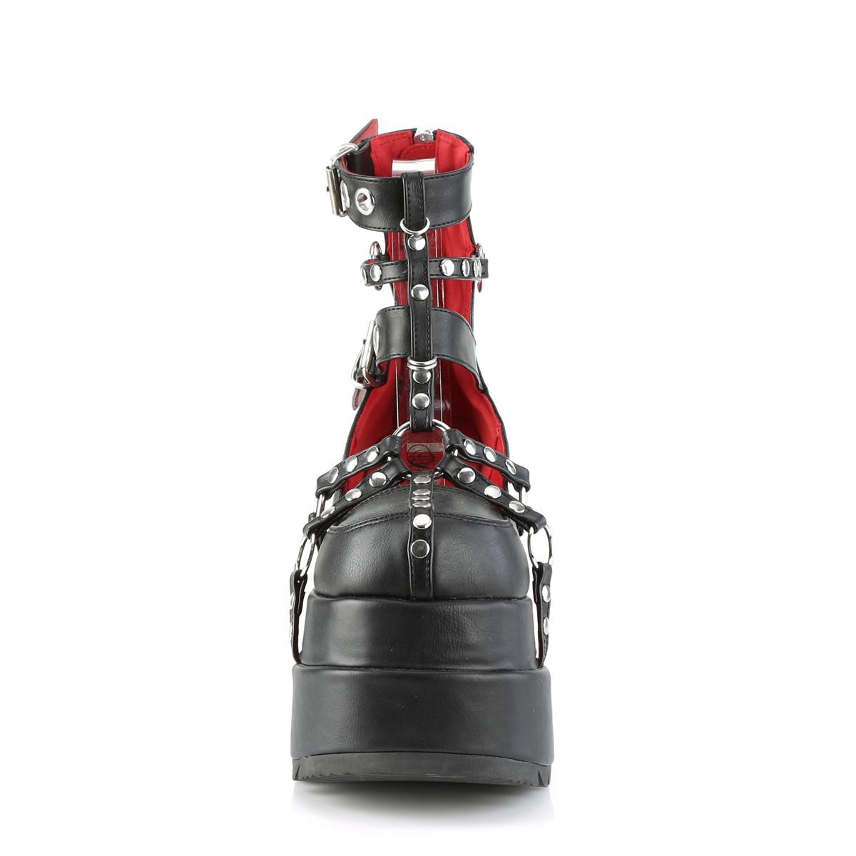 Demonia(デモニア) BEAR-28 2層厚底 ケージブーティ メタルバックZIP つや消し黒◆取り寄せ