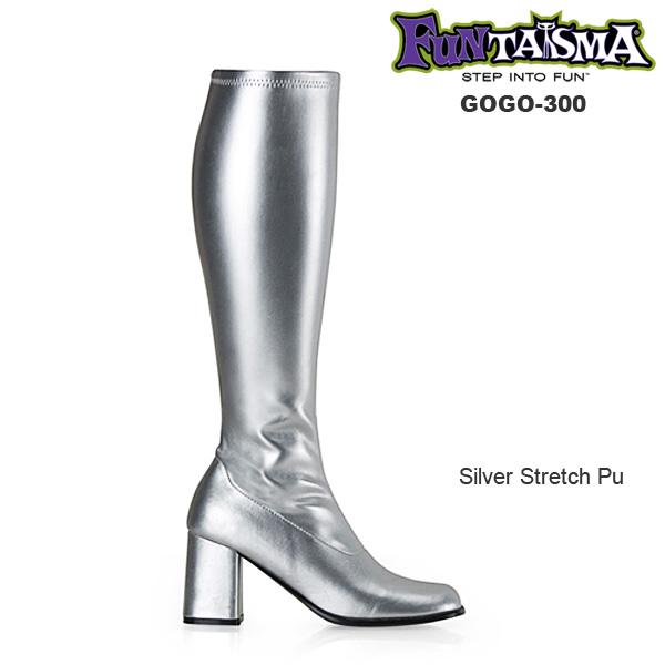 FUNTASMA(Pleaser) GOGO-300 シルバー/銀色 ニーハイブーツ GOGOブーツ コスプレ用ブーツ イベント 衣装 キャンギャルブーツ ロングブーツ