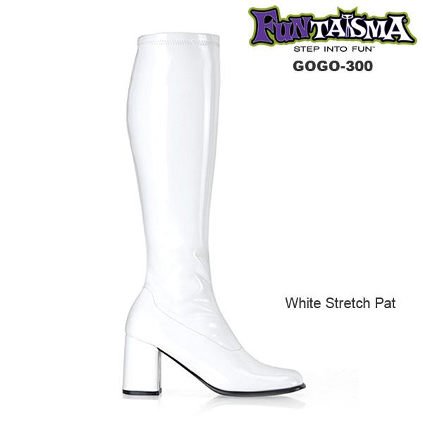 FUNTASMA(Pleaser) GOGO-300 エナメル白 ニーハイブーツ GOGOブーツ コスプレ用ブーツ イベント 衣装 キャンギャルブーツ ロングブーツ