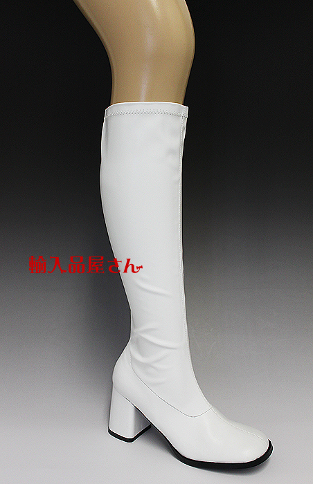 FUNTASMA(Pleaser) GOGO-300 つや消し白 ニーハイブーツ GOGOブーツ コスプレ用ブーツ イベント 衣装 キャンギャルブーツ ロングブーツ