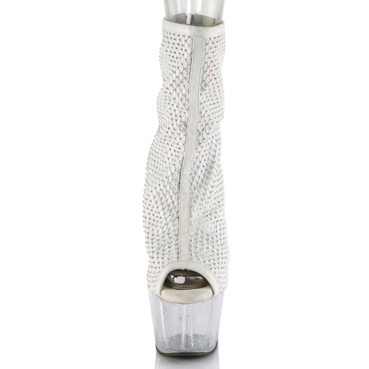Pleaser(プリーザー) ADORE-1031GM ミニラインストーン オープントゥショートブーツ ホワイト 白◆取り寄せ