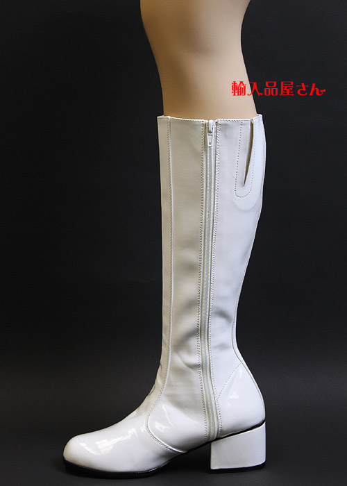 Pleaser(プリーザー) FUNTASMA ひざ丈のロングブーツ/サイドゴア/エナメル白/ヒール高約5cm/GOGO-WHTPAT