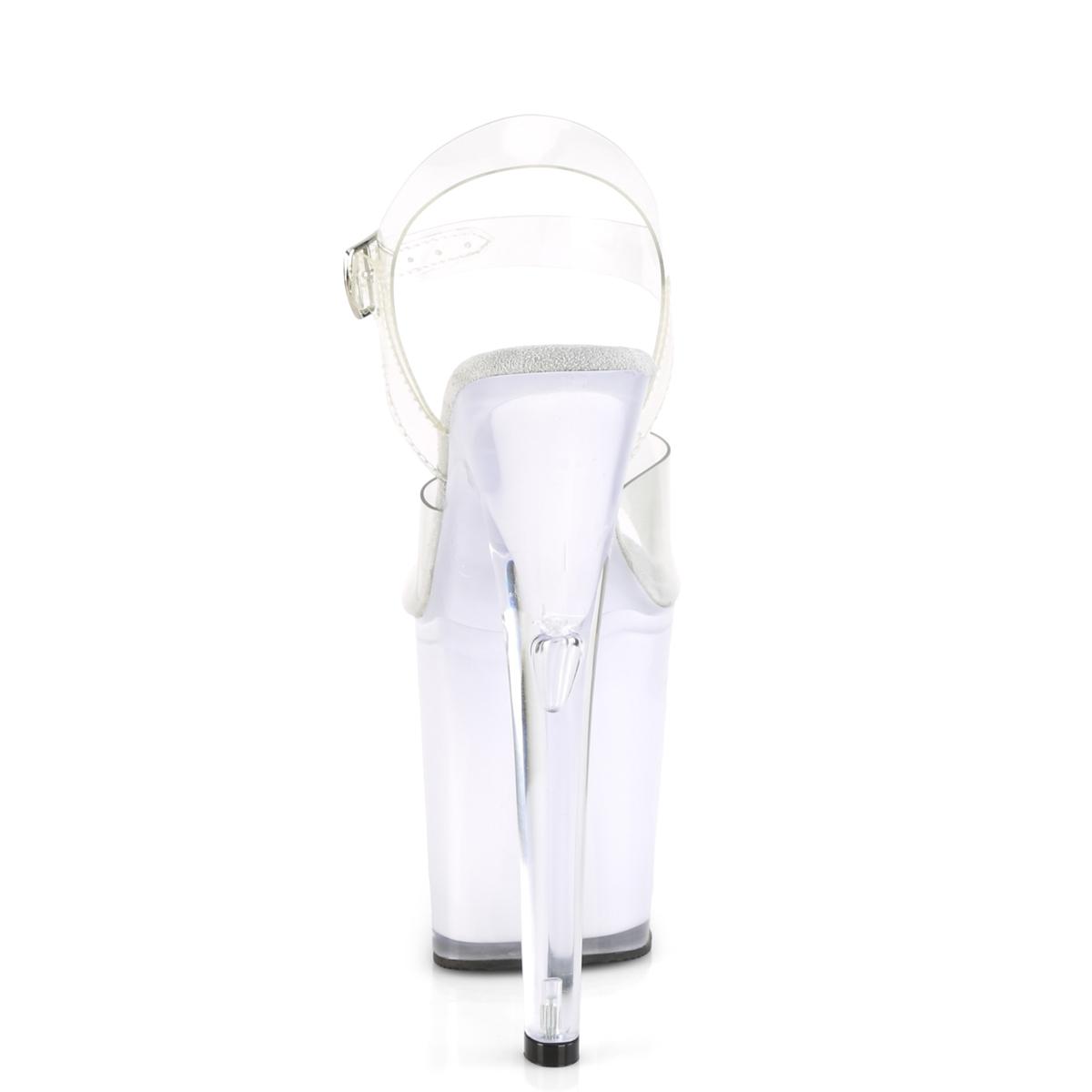 Pleaser(プリーザー) ILLUMINATOR-808 LEDイルミネーション厚底サンダル USB充電 ポールダンス クリア/ホワイトグロウ◆取り寄せ