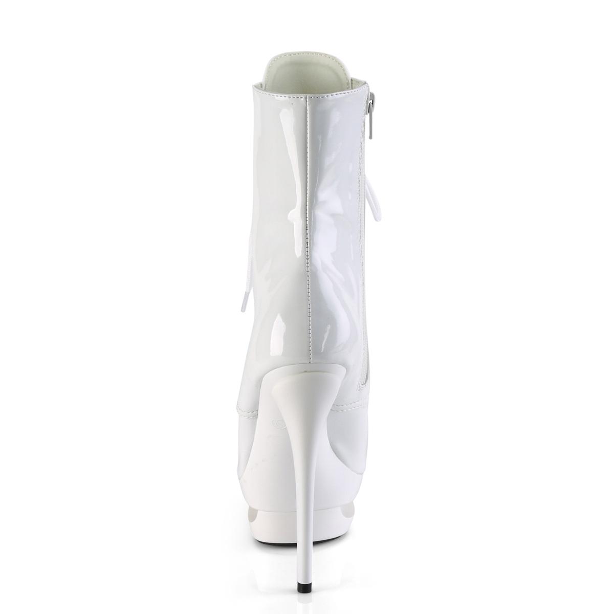 Pleaser(プリーザー) BLONDIE-R-1020 厚底ショートブーツ ピンヒール サイドジップ エナメル白 ホワイト◆取り寄せ