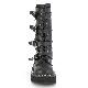 Demonia(デモニア) EMILY-322 蝙蝠バックルストラップ ミッドカーフブーツ バックZIP つや消し黒◆取り寄せ