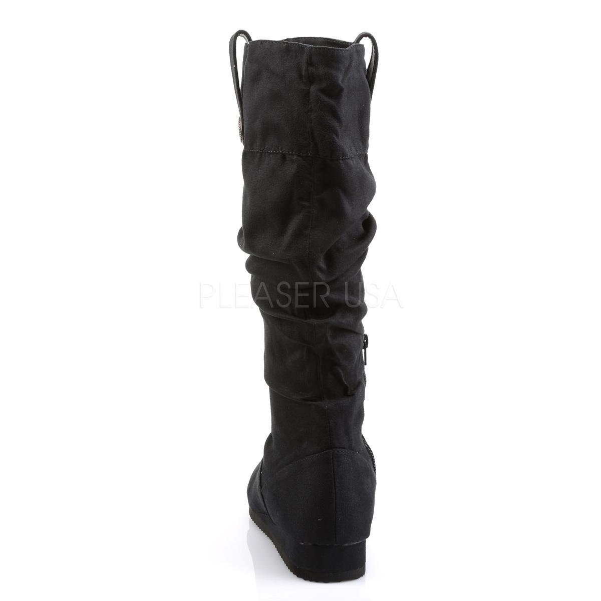 FUNTASMA RENAISSANCE-104 #Men's メンズブーツ ファー 起毛 ミドルブーツ ハーフブーツ 黒マイクロファイバー Pleaser◆取り寄せ