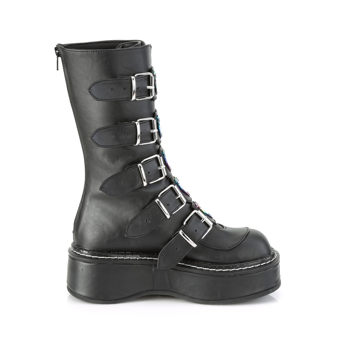 Demonia(デモニア) EMILY-330 5バックルストラップ&ハート型メタルプレート ミッドカーフブーツ つや消し黒 ブラック バックZIP◆取り寄せ