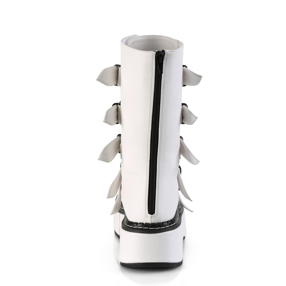 Demonia(デモニア) EMILY-330 5バックルストラップ&ハート型メタルプレート ミッドカーフブーツ つや消し白 ホワイト バックZIP◆取り寄せ