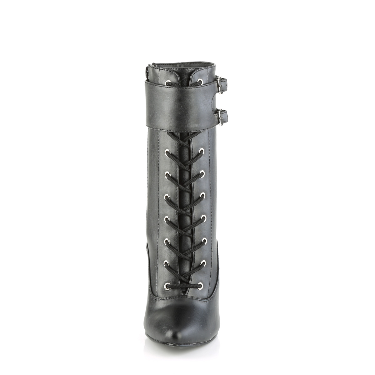 DEVIOUS(Pleaser) DOMINA-1023 ショートブーツ つや消し黒 交換可能な3種類のアンクルカフ付き プリーザー 約15cmハイヒール◆取り寄せ