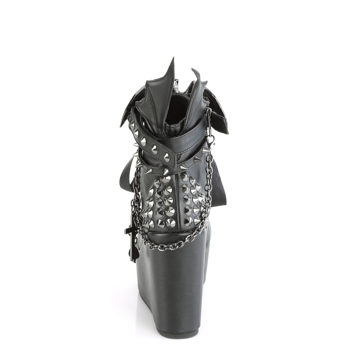 Demonia(デモニア) POISON-107 ウェッジ厚底ブーツ ゴスロリ ハロウィン つや消し黒◆取り寄せ
